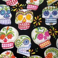 Fabric Mini Calaveras Sugar Skulls Alexander by BluePacificFabrics, $9.50