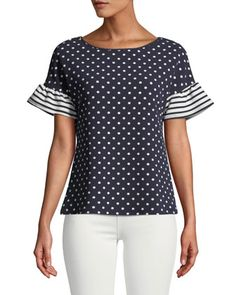 Shop Striped-Flutter Sleeve Polka-Dot Blouse from Casual Couture at Neiman Marcus Last Call, where you'll save as much as on designer fashions. Polka Dot Blouse, Polka Dots, Casual Couture, Dressy Tops, Classic Outfits, Casual Street Style, Modest Dresses, Dress Patterns, Blouse Designs