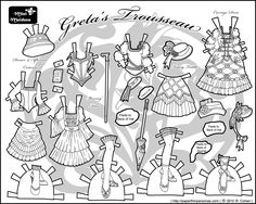 Another page of Greta's Trousseau for my steampunk serial paper doll.  Black and white for coloring and printing. :)