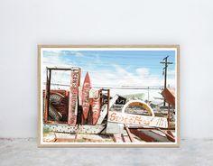 Boneyard: Neon Boneyard, Industrial, Neon Signs, Las Vegas, Photograph, Instant Digital Printable Poster Art Prints, by NineLives Collective Printable Art, Printables, Las Vegas, Photograph, Industrial, Neon Signs, Art Prints, Digital, Handmade Gifts