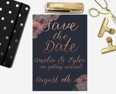 Rose Gold and Navy Wedding Save the Date Printable Gold Save The Dates, Wedding Save The Dates, Wedding Invitations, Invites, Getting Married, Wedding Inspiration, Dating, Rose Gold, Etsy