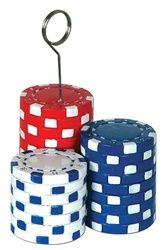 Poker Chips Photo/Balloon Holder - $3.99/each (min. order of 6) - could be used as table markers, snack table labels, etc., and given out as door prizes at end of night)