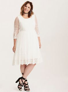 Special Occasion White Embroidered Mesh Skater DressSpecial Occasion White Embroidered Mesh Skater Dress, BRIGHT WHITE