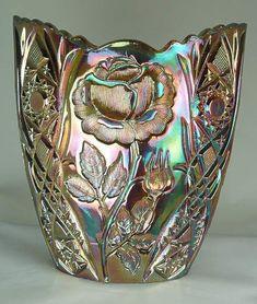 Oval Vase - thistlewoods.net Carnival Glass - Rose Garden