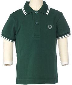 40887566 FRED PERRY KIDS TWIN TIPPED POLO IVY GREEN/POR Your little man will look  prim
