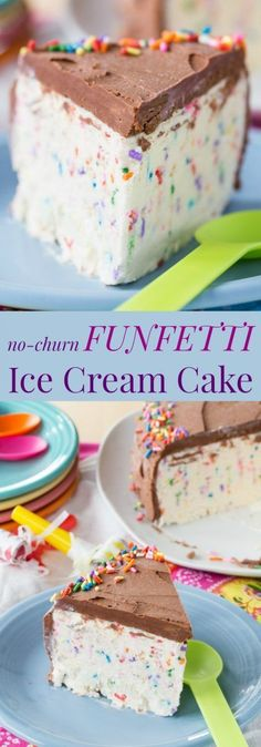 No-Churn Funfetti Ice Cream Cake - birthday boys and girls will have smiles on their faces when you whip up this easy dessert recipe loaded with sprinkles! Ice Cream Treats, Ice Cream Desserts, Mini Desserts, Frozen Desserts, Ice Cream Recipes, Easy Desserts, Frozen Treats, Weight Watcher Desserts, Dessert Simple