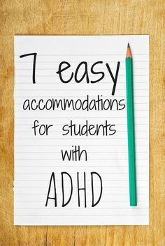 7 Easy Accommodations for Students with ADHD. 7 Easy Accommodations for Students with ADHD. Students with ADHD are successful in the general education classroom with [. Adhd Strategies, Teaching Strategies, Teaching Tips, Special Education Teacher, Teacher Resources, Behavior Management, Classroom Management, Accommodation For Students, Classroom Behavior
