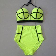 Brazilian Halter Padded Bikini Yellow & Black Contrasting Colors, Wire Free