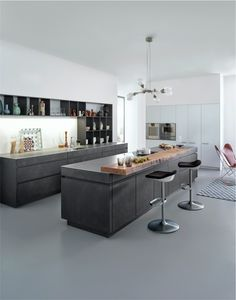 Get LEICHT's modern kitchen units with concrete surface and designer material with Concrete-A at Elan Kitchens, Leading London Kitchen Store in Fulham.