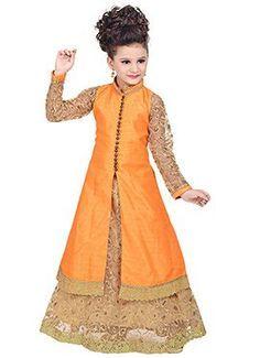 Orange Benarasi Silk Long Choli Lehenga