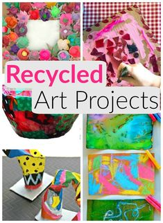 Creative recycled art projects for kids to create! These are such fun arts and crafts using recycled materials found around the house. #howweelearn #artsandcrafts #recycle #recycledart