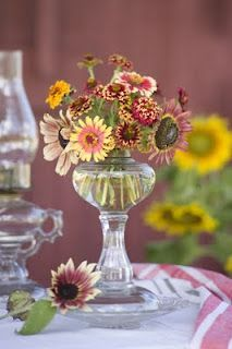 Repurpose a flea market oil lamp into a beautiful vase.  Remove glass chimney.  Unscrew metal fixture with wick. Clean out glass with bleach to remove oil residue. Fill with water and flowers from the garden.  Flowers with thin stems work best.