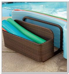 Pool Toy Storage Ideas modern outdoor swimming pool with pool float storage box white plastic pool float storage box and blue wheels plastic float storage Pool Float Storage Ideas With Rattan Base Materials And Brown Coated Iron Frame Finish Click