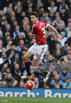 Matteo Darmian of Manchester United in action during the Barclays Premier League match between Tottenham Hotspur and Manchester United at White Hart Lane on April 10 2016 in London, England