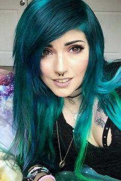 TOP 27 Ideas Of Original And Colorful Emo Hair Styles ★You can find Emo hair and more on our website.TOP 27 Ideas Of Original And Colorful Emo Hair Styles ★ Long Gray Hair, Long Hair Cuts, Long Hair Styles, Goth Hair, Edgy Hair, Lilac Hair, Green Hair, Emo Hair Color, Style Emo