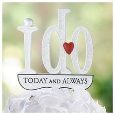"Product Description: Lillian Rose I Do Cake Pick. This fun ""I Do"" cake topper makes the perfect finishing touch on the wedding cake. Heart Wedding Cakes, Wedding Cake Roses, Wedding Cake Toppers, Cupcake Toppers, Our Wedding, Wedding Gifts, Wedding Ideas, Dream Wedding, Wedding Things"