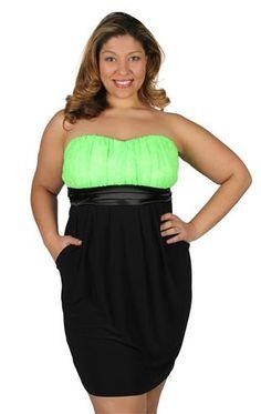 plus size lace neon club dress