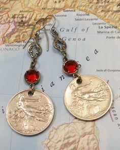 Italy, Vintage Coin earrings  $40.00, via Etsy.