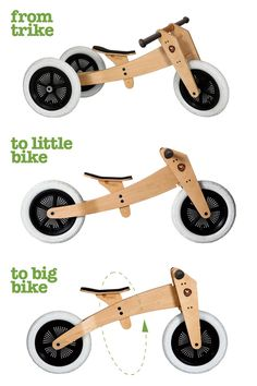 Our original 3in1 wooden Wishbone bike, starts at 12 months with 3 wheels, then when they're ready, convert to a two wheel balance bike.