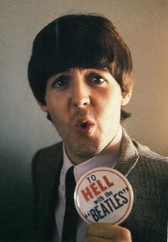 Paul McCartney with an anti-Beatles button, 1966...