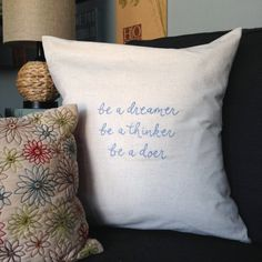 pillow cover . personalized custom . inspirational quote . hand made . hand embroidered . linen blend . envelope closure . home decor . gift