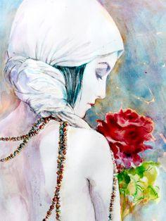 Original Watercolor Painting Art Print, Portrait  of Woman With Rose