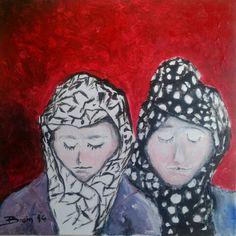 Vrome Vrouwen 2 (pious women 2) _  acryl op doek