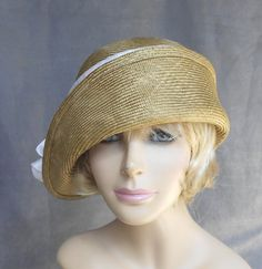 Gabby, Cloche flapper hat, womens parasisal straw millinery hat