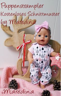 Puppenstrampler – by Maredina Baby Alive Doll Clothes, Baby Born Clothes, Baby Alive Dolls, Baby Dolls, Sewing For Kids, Diy For Kids, Baby Born Kleidung, Baby Doll Accessories, Doll Dress Patterns
