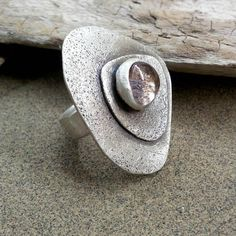 Sterling silver ring with semi precious stone fan by applenamedD, €63.00