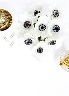 Prop styling and photography by Shay Cochrane | www.shaycochrane.com | anemones, black and white, gold, white flowers, florals, gold pens