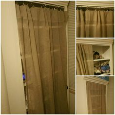 I wanted to store clothing discreetly. I bought a bookshelf at Nebraska Furniture Mart in the clearance and added a curtain rod with window sheer curtain.  Later, I realized the clips would make it easier to open and added.