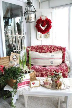 Red & White Valentines. Beautiful quilt on wicker and antique fringed towel.