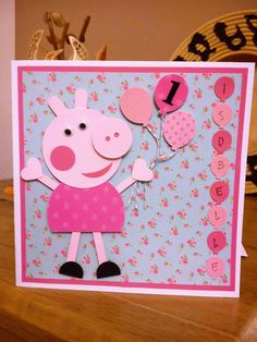 Handmade personalised Peppa Pig Card I made with pretty papers