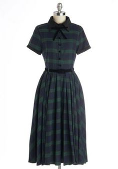 Muse Your Instincts Dress in Plaid Pine, Collectif, ModCloth