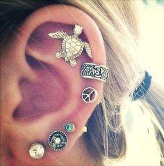Turtle cartilage piercing earrings