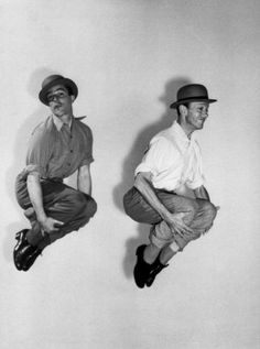 """Gene Kelly and Fred Astaire rehearsing for """"Ziegfeld Follies"""" (1946)"""