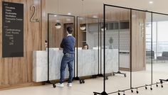 Screenflex Plexiglass Reception Barriers can help prevent the spread of infectious diseases and safely create crowd control. Office Room Dividers, Portable Room Dividers, Office Setup, Modern Office Design, Office Interior Design, Modern Offices, Desk Partitions, Panel Divider, Lobby Interior