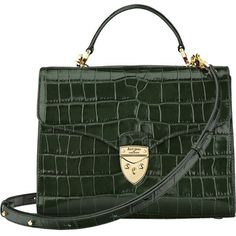 ASPINAL OF LONDON Mayfair crocodile-effect leather bag ($725) ❤ liked on Polyvore featuring bags, handbags, crocodile handbags, pocket purse, croc handbags, clasp purse and crocodile purse