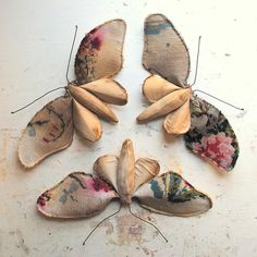 "Mr Finch Textile Art ""Trio of Butterflies made from Vintage fabrics"""