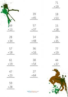 Help your little learner improve their mathematical abilities with the fun and free help of this downloadable worksheet! #doubledigitspractice #advancedaddition #doubledigitswithcarry #freemathworksheets #mathpractice Preschool Math, Math Classroom, Math Activities, Addition And Subtraction Practice, Math Addition, 2nd Grade Math Worksheets, Free Math Worksheets, Math For Kids, Fun Math