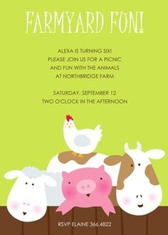 Kids Birthday Invitations - partyinvitations.com Birthday Invitations Kids, Farm Yard, Invitation Design, Rsvp, Fun, Hilarious
