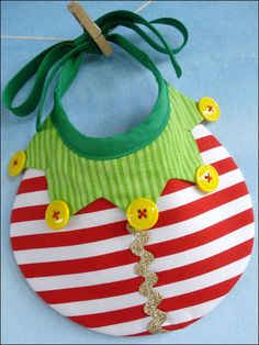 Elf, Tree & Ornament Bibs Sewing Pattern Download from e-PatternsCentral.com -- Baby will be ready for the holidays with this adorable bib trio.