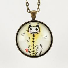 Halloween Jewelry  Skeleton Cat Necklace  Goth by cellsdividing, $36.00
