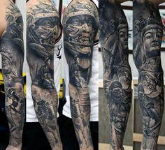 tigre único para hombre de la manga de sombra diseños de tatuajes