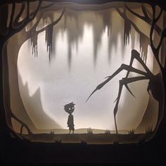 Instagram media ladscott - Watch out little guy! #art #illustration #paperart #lightbox #limbo #spider