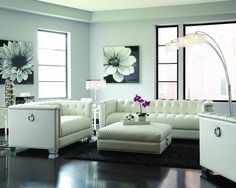 CONTEMPORARY PEARL WHITE LEATHERETTE SOFA & LOVESEAT LIVINGROOM FURNITURE SET #Unbranded #Traditional