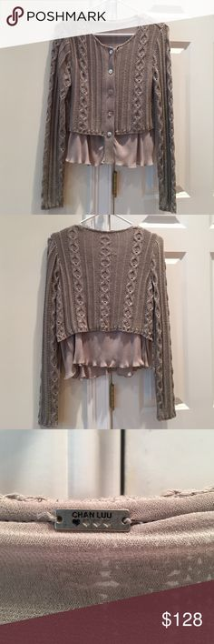 Chan Luu Cabled Cardigan Sweater Taupe cabled sweater with mother of pearl buttons and viscose lining. Like new. Chan Luu Sweaters Cardigans