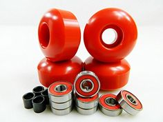 Big Boy 52mm Blank Skateboard Wheels   ABEC 7 Bearings Spacers (Red)