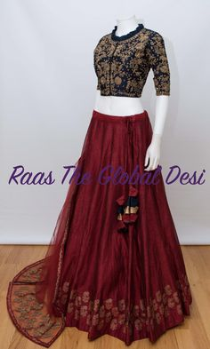 Raas The Global Desi is Indian clothing online USA wedding saree, bridal sarees,lehengas online, anarkalis, chaniyacholi online USA.CHANIYA CHOLI 2019 Latest designer & custom-made Chaniya Choli's exclusively online.Browse our beautiful designer coll Half Saree Designs, Choli Designs, Lehenga Designs, Indian Wedding Outfits, Indian Outfits, Indian Clothes, Choli Dress, Kaftan, Indian Lehenga